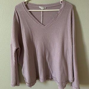 purple waffle sweater!